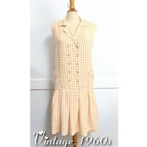 Vintage 1960s drop-waist Orange Gingham Dress Med
